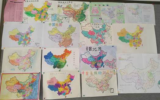 """""""爱我中华手绘地图""""年级展板"""